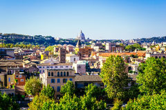 Panoramic view of Rome as seen from Orange garden, Giardino degli Aranci, in Rome, Italy Royalty Free Stock Images