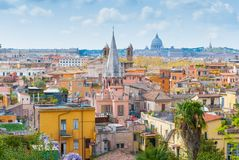 Panoramic view of Rome, Italy. View of San Marcello al Corso church and Rome roofs from Pincio Stock Image