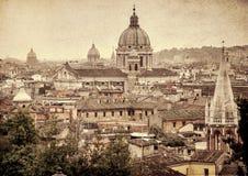 Panoramic view of Rome. Retro toned photo Stock Photos