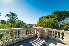 Panoramic view of Rome seen from Pincio terrace stock image