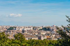 Panoramic view of Rome seen from the Promenade of the Janiculum royalty free stock photography