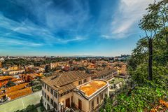 Panoramic view of Rome on a sunny day royalty free stock image