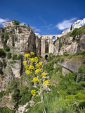 Panoramic view of Ronda, Andalusia, Spain. New bridge in Ronda, one of the famous white villages in Andalusia, Spain Royalty Free Stock Images