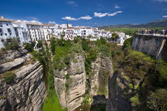 Panoramic view of Ronda, Andalusia, Spain. Panoramic view from a new bridge in Ronda, one of the famous white villages in Andalusia, Spain Royalty Free Stock Photos
