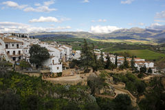 Panoramic view of Ronda old town on Tajo Gorge, Spain Royalty Free Stock Photo