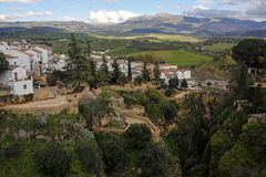 Panoramic view of Ronda old town on Tajo Gorge, Spain Royalty Free Stock Images