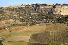 Panoramic view upon Ronda plains fields Royalty Free Stock Photo