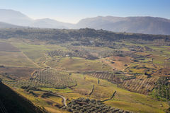 Panoramic view upon Ronda surrounding plains fields Stock Images