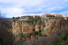 Panoramic view of Ronda town over the Tajo Gorge Stock Images