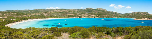 Panoramic view of Rondinara beach in Corsica Island in France Royalty Free Stock Image