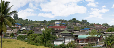 Panoramic view on roof huts Royalty Free Stock Image
