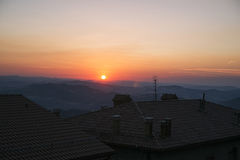 Panoramic view from the roof in San Marino in Italy late in the Royalty Free Stock Image