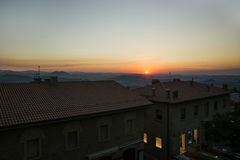 Panoramic view from the roof in San Marinoin the evening at the Royalty Free Stock Photography