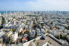 Panoramic view on roofs of  Tel-Aviv on the modern buildings bac Royalty Free Stock Images