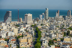 Panoramic view on roofs of  Tel-Aviv on the modern buildings bac Royalty Free Stock Photo