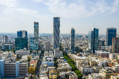 Panoramic view on roofs of  Tel-Aviv on the modern buildings bac Royalty Free Stock Image