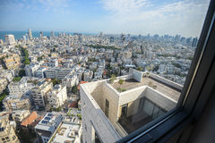 Panoramic view on roofs of  Tel-Aviv on the modern buildings background Royalty Free Stock Photo