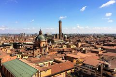 Panoramic view of the rooftops of Bologna, Italy royalty free stock photo