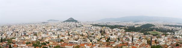 Athens, Greece. Panoramic view on rooftops and houses in Athens, Greece stock images