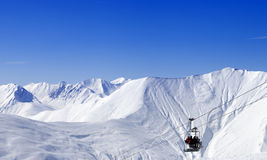 Panoramic view on ropeway at ski resort Stock Images
