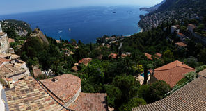 Panoramic view on Roquebrune Cap Martin, Azur coast, France Stock Images