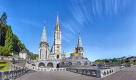 Panoramic view of Rosary Basilica in Lourdes. Hautes-Pyrenees, France Royalty Free Stock Images