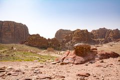 Rose City of Petra. Panoramic view of the Rose City of Petra from the high tombs Royalty Free Stock Image