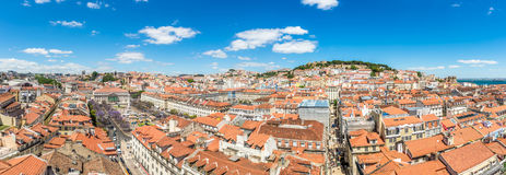 Panoramic view at the Rossio square and Alfama district from Santa Justa in Lisbon ,Portugal Royalty Free Stock Photography