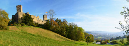 Panoramic view with the Rotteln castle Royalty Free Stock Photo