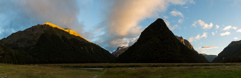 Panoramic view of Routeburn Flats at sunset Stock Image