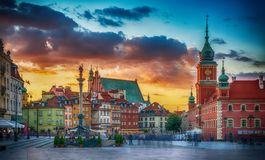 Panoramic view on Royal Castle, ancient townhouses and Sigismund`s Column in Old town in Warsaw, Poland. royalty free stock images