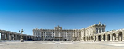 Madrid / Spain - 07.23.2012: Panoramic view on the Royal Palace with clean blue sky. stock photo