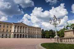 Panoramic view on the Royal Palace and gardens in Oslo, Norway Royalty Free Stock Photography