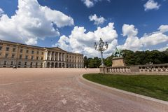 Panoramic view on the Royal Palace and gardens in Oslo, Norway Royalty Free Stock Photos