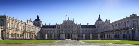 Panoramic view of Royal Palace. September 26 2017 Aranjuez spain. September 26 2017 Aranjuez spain. Panoramic view of Royal Palace. September 26 2017 Aranjuez Stock Photo