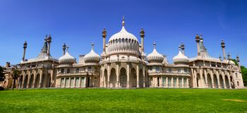 Royal Pavilion panorama Brighton East Sussex Southern England UK. Panoramic view of the Royal Pavilion Brighton Pavilion, former royal residence built in the royalty free stock photo