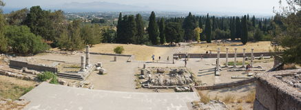 Panoramic view from the ruins of an ancient temple. Asklepion god temple ruins on the island of Kos in Greece. Photo taken 12.07.2011 in Kos Greece Stock Photography