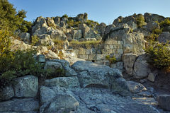 Panoramic view of Ruins of The ancient Thracian city of Perperikon,  Bulgaria Royalty Free Stock Photo