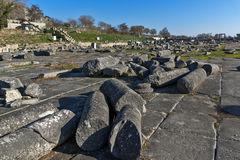 Panoramic view of Ruins in the archeological area of ancient Philippi, Greece Stock Image