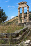 Panoramic view of Ruins and Athena Pronaia Sanctuary at Ancient Greek archaeological site of Delphi, Greece Stock Photo
