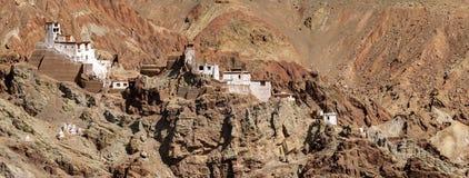 Panoramic view of ruins at Basgo Monastery, Leh, Ladakh, Jammu and Kashmir, India. Panoramic view of ruins and Basgo Monastery surrounded with stones and rocks stock photos