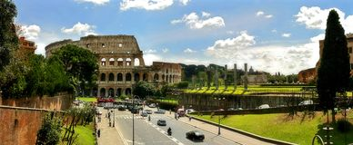 Panoramic view on ruins of Coliseum in Rome. Royalty Free Stock Photography