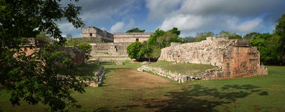 Panoramic view of the ruins of the Mayan pyramids in Uxmal Stock Images