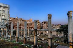 Panoramic view of the ruins of the Trajan`s Forum Royalty Free Stock Images