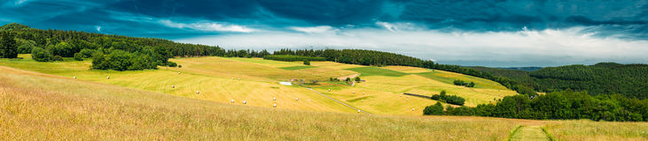 Panoramic View Of Rural Landscape In Germany Stock Photography
