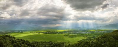 Panoramic view on rural mountain landscape before the rain. Viet Stock Image