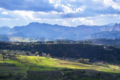 Panoramic view of rural surroundings of Ronda town Royalty Free Stock Photography