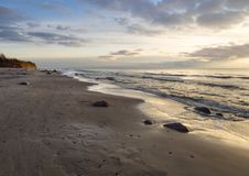 Panoramic view Rushing wave on a sunny day on the sandy beach of the Baltic Sea in Palanga, Lithuania royalty free stock photo