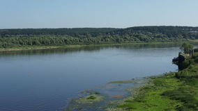 Panoramic view on russian river with forest stock footage