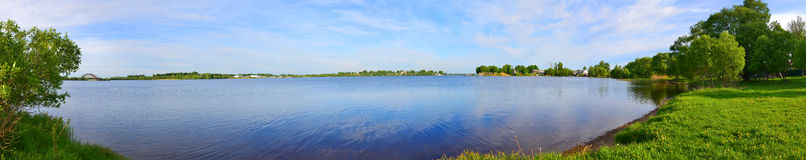 Panoramic view of Rybinsk Reservoir Royalty Free Stock Images